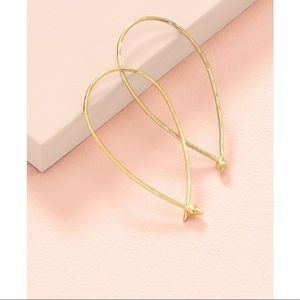 Stella & Dot NEW w/BOX Hammered Wire Hoops- Gold
